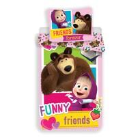 Mása és a medve Barátok gyermek pamut ágynemű, 140 x 200, 70 x 90 cm