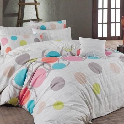 Bavlněné povlečení Puntíky růžová, 140 x 200 cm, 70 x 90 cm