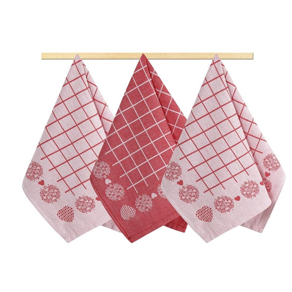 Bellatex Kuchyňská utěrka Srdíčko červená, 50 x 70 cm, sada 4 ks