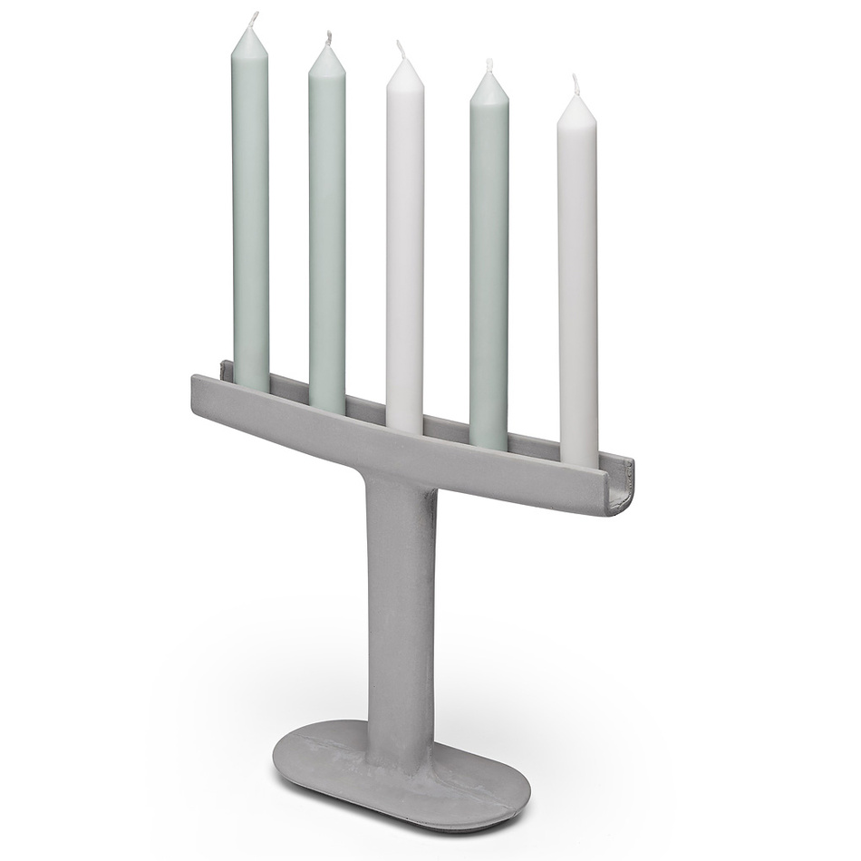 Mensch Made Svietnik Candle Stick 26 cm, šedý