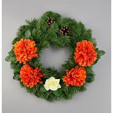 Dušičkový veniec s chryzantémami 30 cm, oranžová