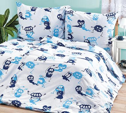 Dětské povlečení Bubáci, 140 x 200 cm, 70 x 90 cm, bílá + modrá, 140 x 200 cm, 70 x 90 cm