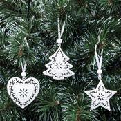 Vánoční ozdobičky bílé, 3 ks