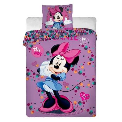 Dětské bavlněné povlečení Minnie Purple, 140 x 200 cm, 70 x 90 cm
