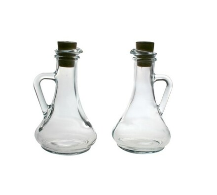 Sada skleněných lahviček  na ocet a olej s korkovo, transparentní
