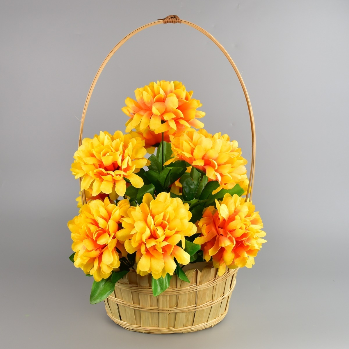 Dušičkový košík zdobený Chryzantéma 20 x 30 cm, žlutá