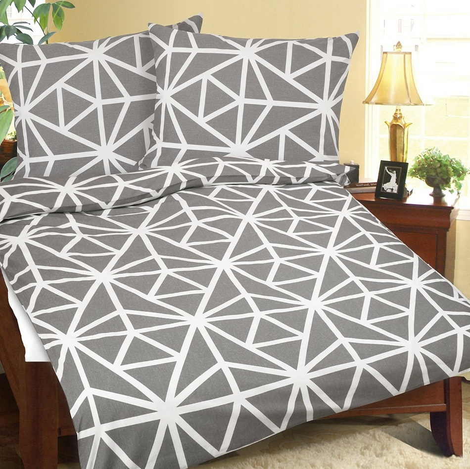 Bellatex Krepové obliečky Geometria sivo-biela, 140 x 200 cm, 70 x 90 cm, 140 x 200 cm, 70 x 90 cm