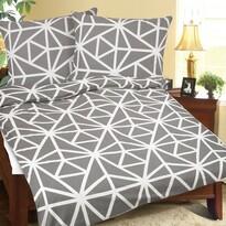 Lenjerie crep Geometrie gri-alb, 140 x 200 cm, 70 x 90 cm