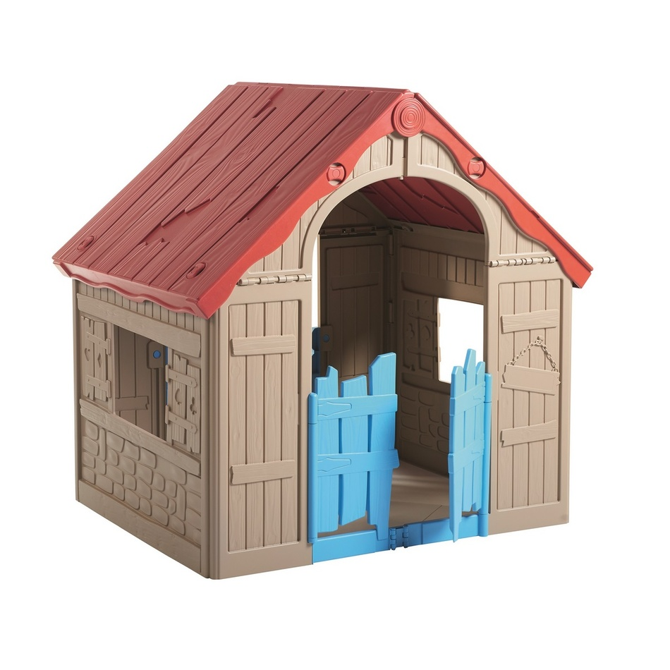 Dětská domek KETER FOLDABLE PLAY House béžová/červená/modrá
