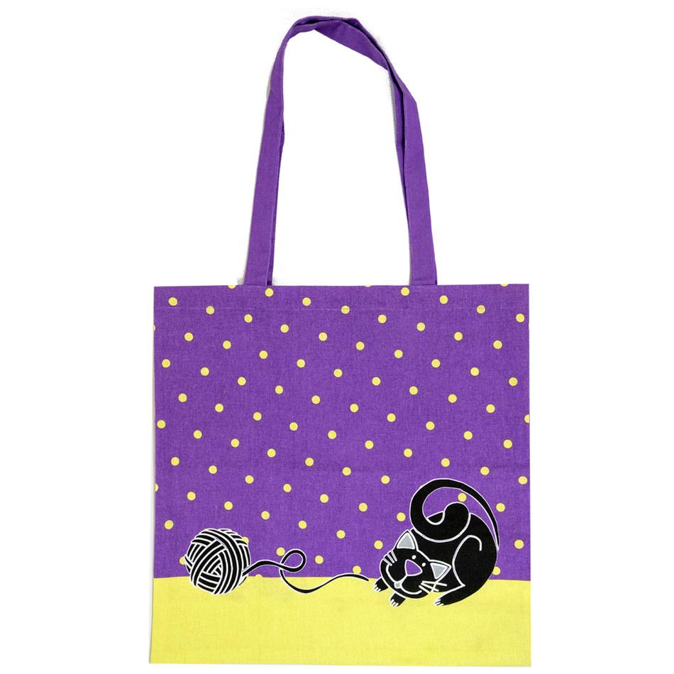 Trade Concept Nákupní taška Kočka fialová, 40 x 42 cm