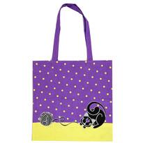 Nákupná taška Mačka fialová, 40 x 42 cm