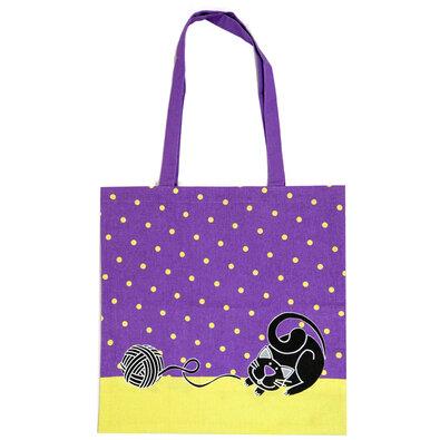 Nákupní taška Kočka fialová, 40 x 42 cm