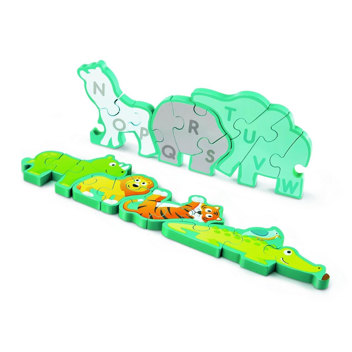 Hape Oboustranné puzzle Zvířátka a abeceda 26 dílků, 77 x 1,2 x 16,5 cm