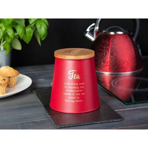 Altom Dóza s bambusovým víkem na čaj, červená
