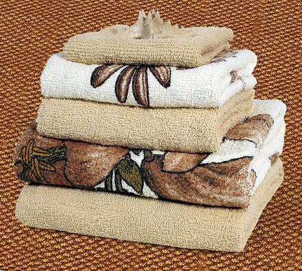 Sada 5 ks froté ručníků, hnědé s květy
