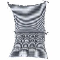 Prešívaný sedák Prúžky modrá, 40 x 40 cm