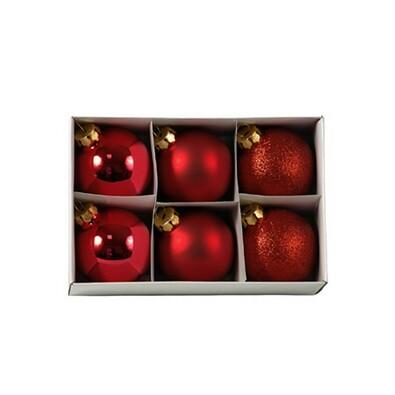 Skleněné vánoční koule, červené, 6 ks, červená