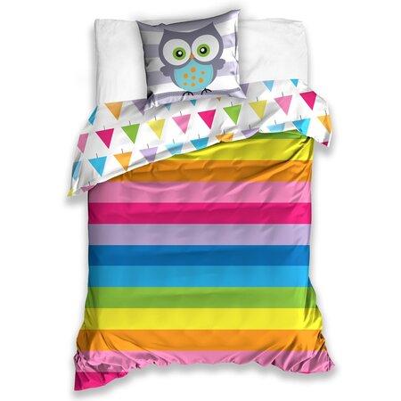 Bavlněné povlečení Sovička Rainbow, 140 x 200 cm, 70 x 90 cm