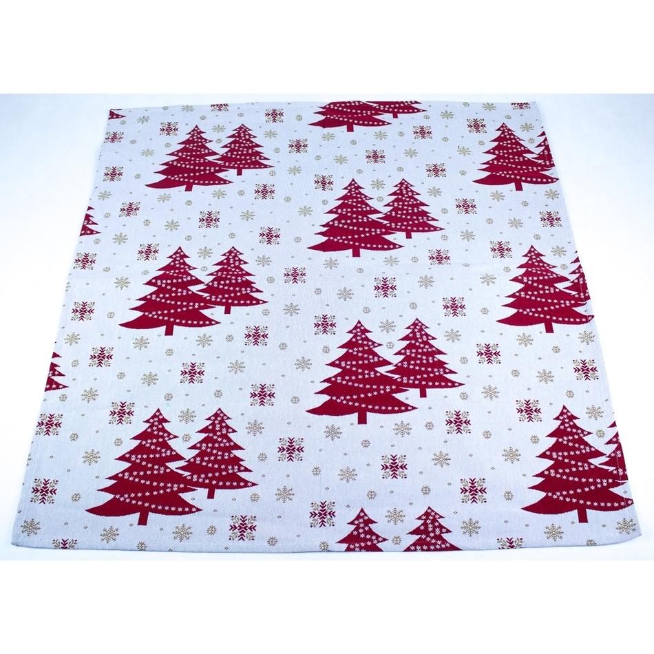 BO-MA Trading Vánoční ubrus Stromky, 100 x 100 cm