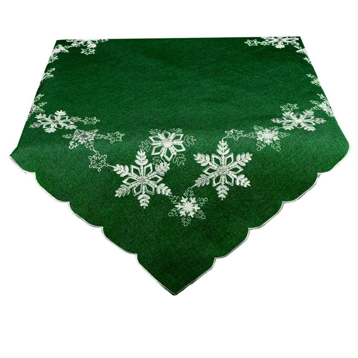 BO-MA Trading Vánoční ubrus Vločky zelená, 85 x 85 cm