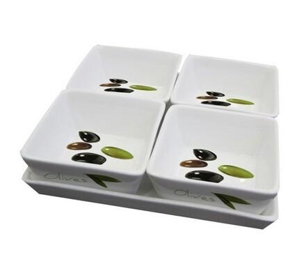 Servírovací misky olivy, bílá, 19 x 19 cm