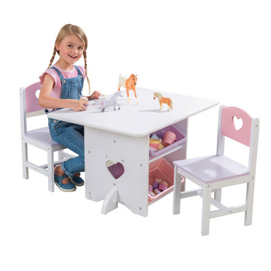 KidKraft Stôl so stoličkami a úložnými boxmi Heart, biela