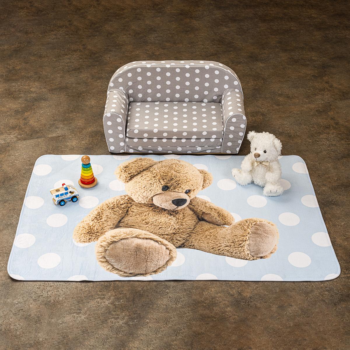 Vopi Detský koberec Ultra Soft Medvedík modrá, 100 x 150 cm