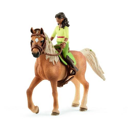 Schleich Sarah fekete hajú baba és Mystery ló