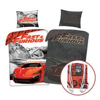 Bavlněné povlečení Fast and Furious svítící, 140 x 200 cm, 70 x 90 cm + dárek zdarma