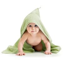 Ręcznik kąpielowy dla bobasów z kapturkiem jasnozielony, 80 x 80 cm