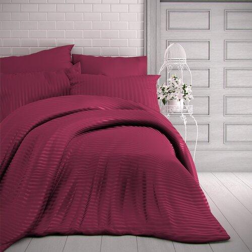 Stripe szatén ágynemű, bordó, 220 x 200 cm, 2 db 70 x 90 cm