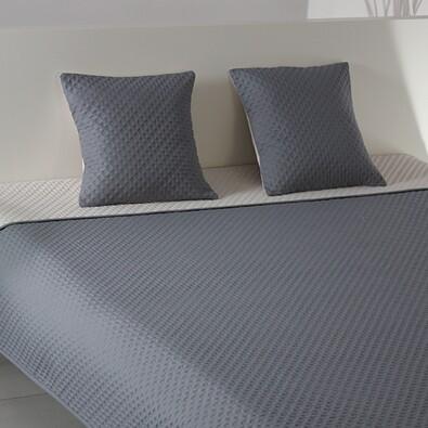 Přehoz na postel Laurine stříbrná a světle šedá, 220 x 240 cm