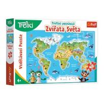 Trefl Puzzle Treflíci poznávají zvířátka světa, 48 dílků