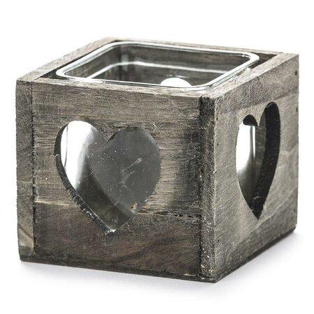 Świecznik drewniany serce szary