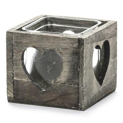Dřevěný svícen srdce šedá