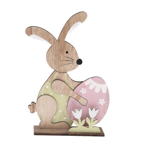 Drevená dekorácia Veľkonočný zajačik s vajíčkom, 15,5 x 23 cm