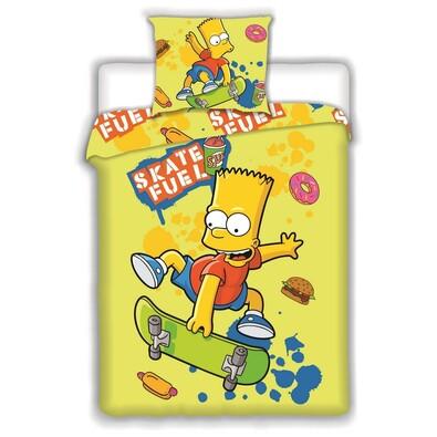 Dětské bavlněné povlečení Bart Skate Yellow, 140 x 200 cm, 70 x 90 cm