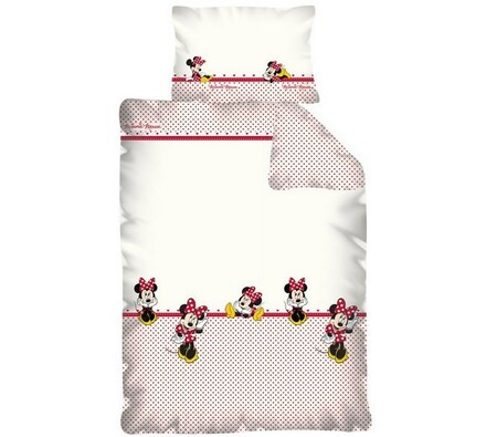 Dětské povlečení Minnie, 100 x 135 cm, 60 x 40 cm, bílá + červená, 100 x 135 cm, 40 x 60 cm