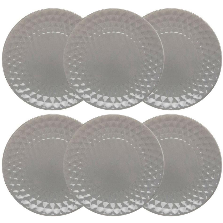 Florina Zestaw ceramicznych talerzy deserowych Diamond, 19,5 cm, 6 szt., ciemnoszary