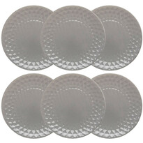 Florina Sada keramických dezertních talířů Diamond 19,5 cm, 6 ks, šedá