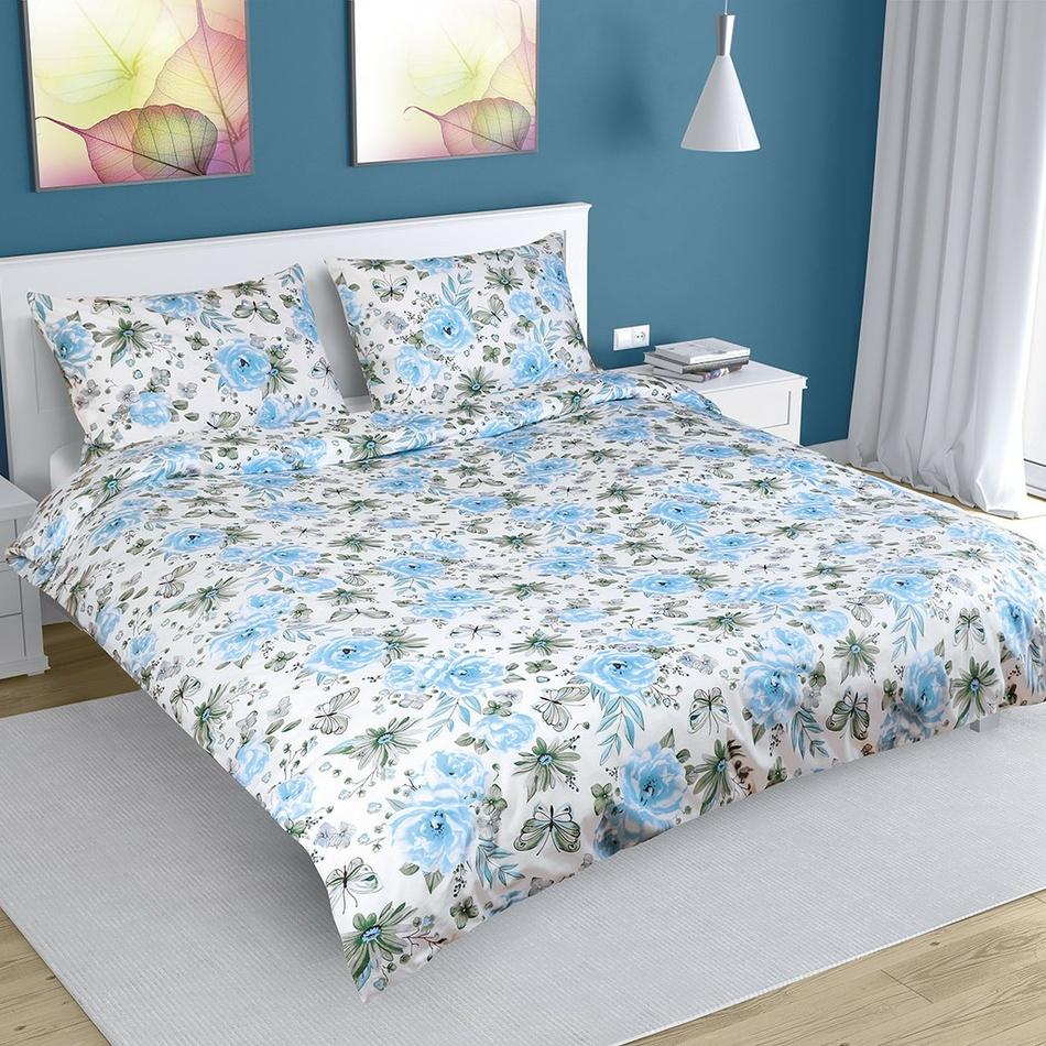 Bellatex Bavlnené obliečky Ruže modrá, 180 x 220 cm, 50 x 70 cm
