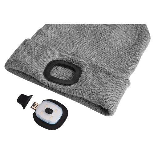 Sixtol Čepice s čelovkou 45 lm, USB, uni, šedá