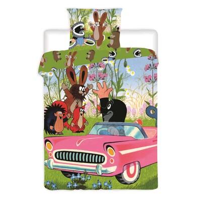 Dětské bavlněné povlečení Krteček v autíčku, 140 x 200 cm, 70 x 90 cm
