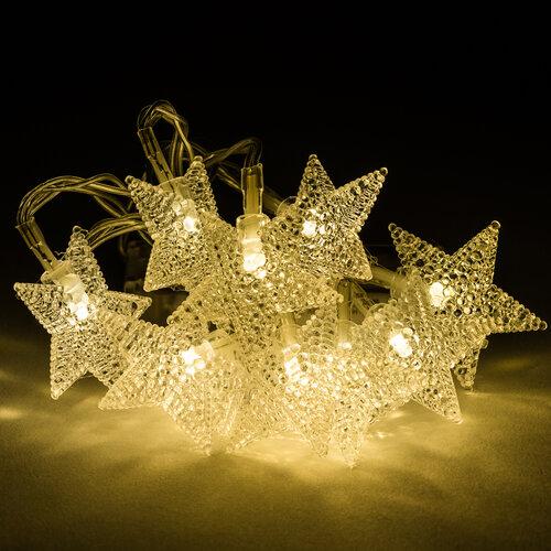 Svetelná reaťz s ozdobnými hviezdami, 10 LED