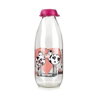 Banquet Láhev na mléko Funny Cow 1 l růžová