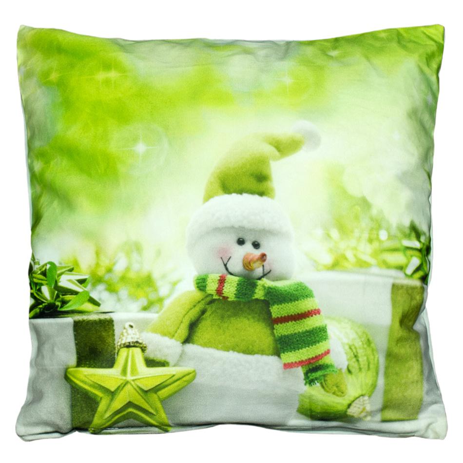 BO-MA Trading Povlak na polštářek Sněhulák zelená, 40 x 40 cm