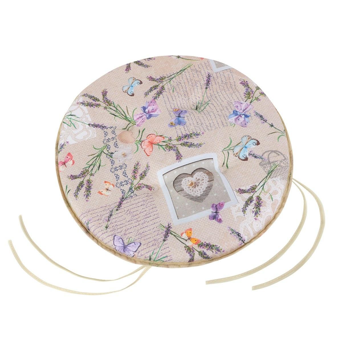 Bellatex Sedák okrúhly hladký Ema Patchwork levanduľa, 40 cm