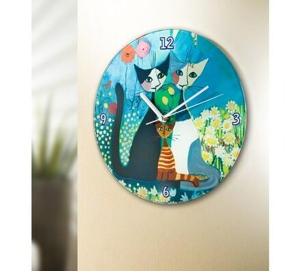 Nástěnné hodiny - kočky, vícebarevná, 27 x 3 cm