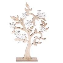 Dřevěná dekorace Kvetoucí strom s ptáčky, 19,5 x 29,5 cm