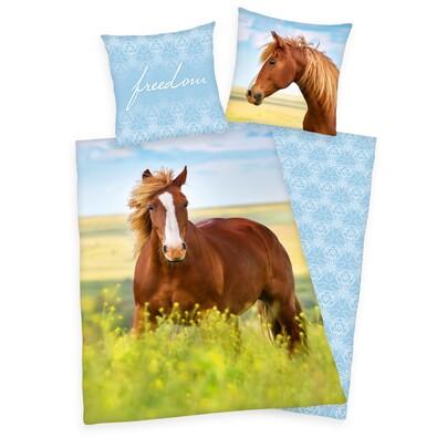 Horse Freedom pamut ágynemű, 140 x 200 cm, 70 x 90 cm